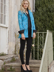 Long European Jacket in Brilliant Turquoise