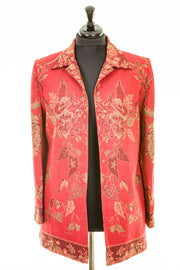 Long European Jacket in Rich Ruby