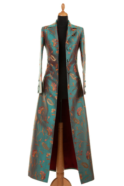 alternative mother of the bride outfit, mature bride outfit, teal embroidered silk maxi coat, outfit for ascot, silk opera coat