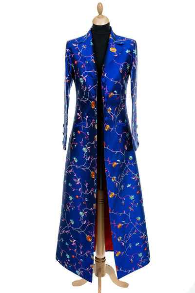women's full length bright cobalt blue embroidered silk coat, alternative mother of the bride outfit, non-traditional wedding outfit, bridal coat, silk opera outfit