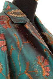 teal embroidered silk opera coat, plus size mother of the bride outfit, mother of the bride outfit with trouser