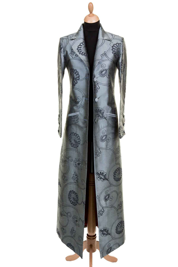 steel grey embroidered silk floor length black tie coat for women, plus size opera outfit, wedding coat to wear with trousers, outfit ideas for ascot