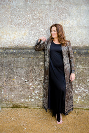 plus size wedding guest outfit, plus size mother of the bride coat, cashmere floor length coat, opera outfit