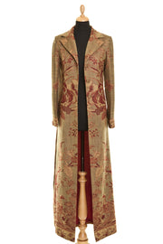 cashmere maxi coat for the races, ladies outfit ideas for ascot, floral floor length coat, plus size opera outfit