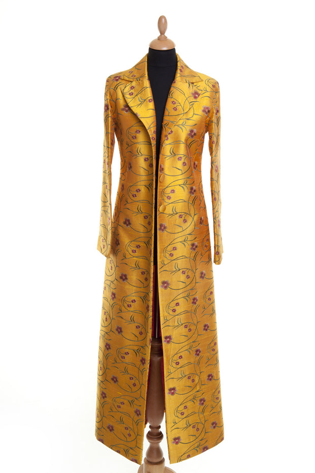 mustard yellow embroidered silk maxi coat, embroidered silk opera coat, plus size wedding outfit, alternative mother of the bride outfit, black tie event outfit