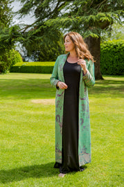 plus size mother of the bride outfit, wedding coat to wear with trousers, black tie wedding coat, green opera coat