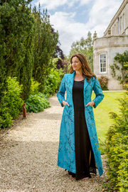 plus size mother of the bride outfit, turquoise embroidered silk maxi coat, alternative wedding outfit, bridal coat