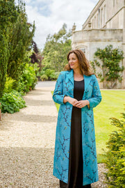 plus size mother of the bride outfit, silk mother of the bride coat, turquoise embroidered silk wedding coat, silk maxi coat, silk opera coat