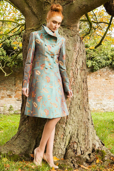 women's dark teal embroidered silk coat, double breasted wedding coat, mother of the bride dress coat, silk coat for opera