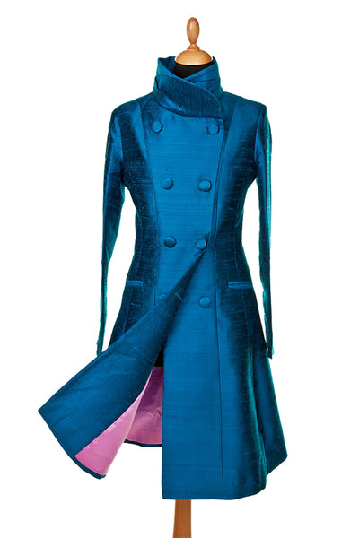 bright teal blue raw silk coat, double breasted wedding coat, mother of the bride dress coat, smart silk coat, plus size opera outfit, unusual wedding guest outfit