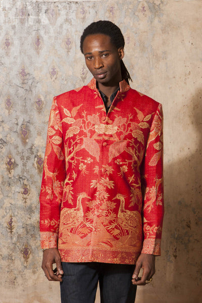 Mens Nehru Jacket in Imperial Red