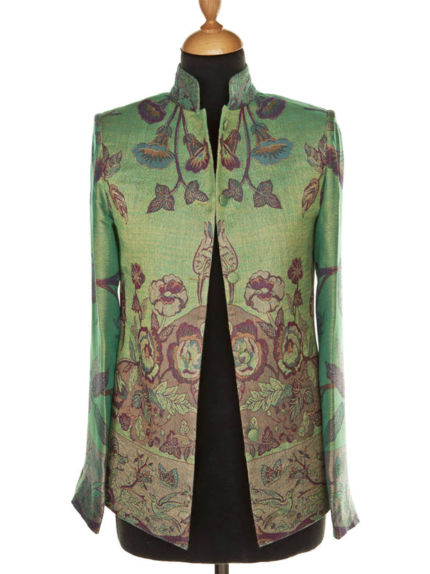Short Nehru Jacket in Dragonfly Green