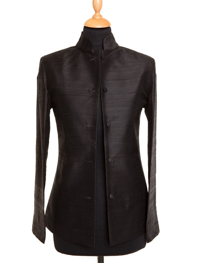 Short Nehru Jacket in Liquorice