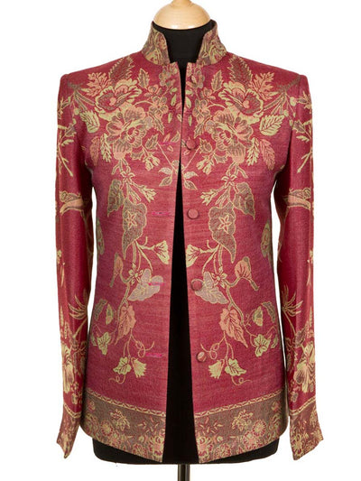 Short Nehru Jacket in Moss Rose