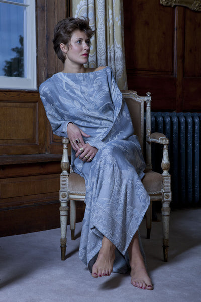 grey bateau neck kaftan, full length cashmere caftan, plus size loungewear, summer kaftan, cruise wear