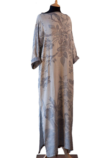 pale blue grey cashmere long kaftan kimono, luxury loungewear, cruise wear, plus size kaftan, beach coverup, holiday wear