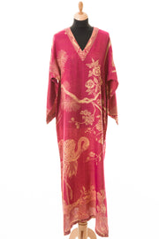 V Neck Kaftan in Deep Raspberry