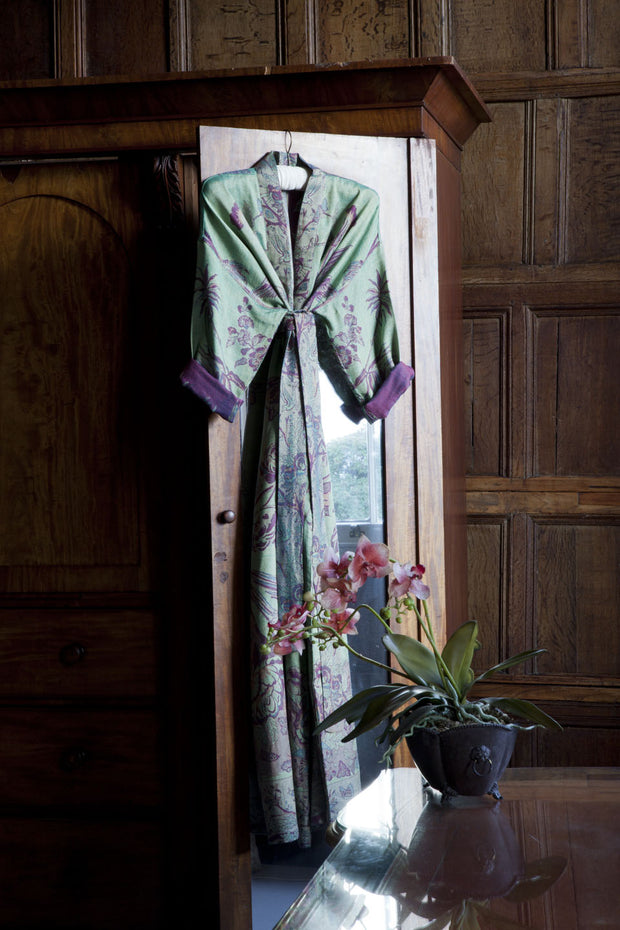 Reversible Dressing Gown in Dragonfly Green