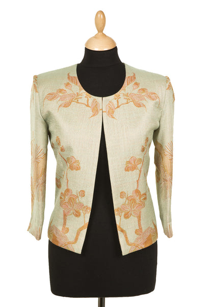women's pale green floral cashmere cropped jacket, chanel style box jacket, mother of the bride outfit