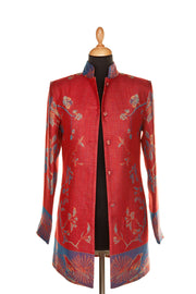 Long Nehru Jacket in Venetian Red