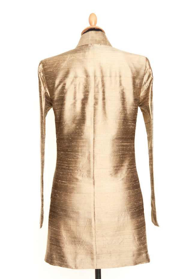 Long Nehru Jacket in Oyster Gold