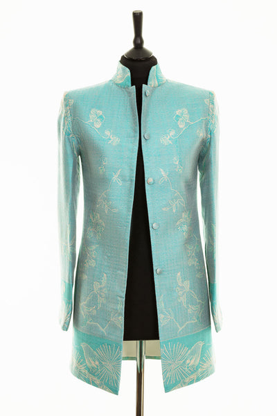Long Nehru Jacket in Pale Cyan