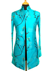 Long Nehru Jacket in Brilliant Turquoise