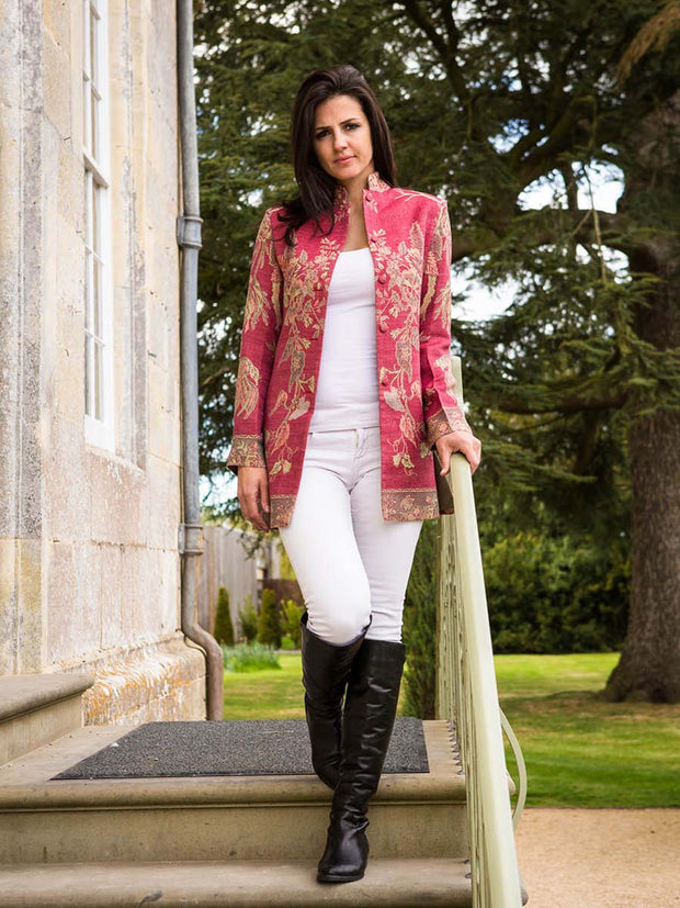 Long Nehru Jacket in Moss Rose