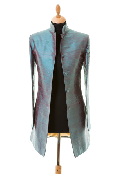 Long Nehru Jacket in Smokey Blue