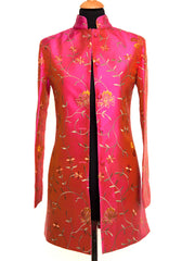 Long Nehru Jacket in Schiaparelli Pink