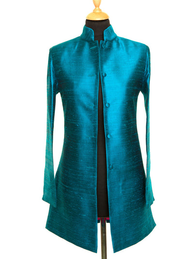 Long Nehru Jacket in Kingfisher Blue