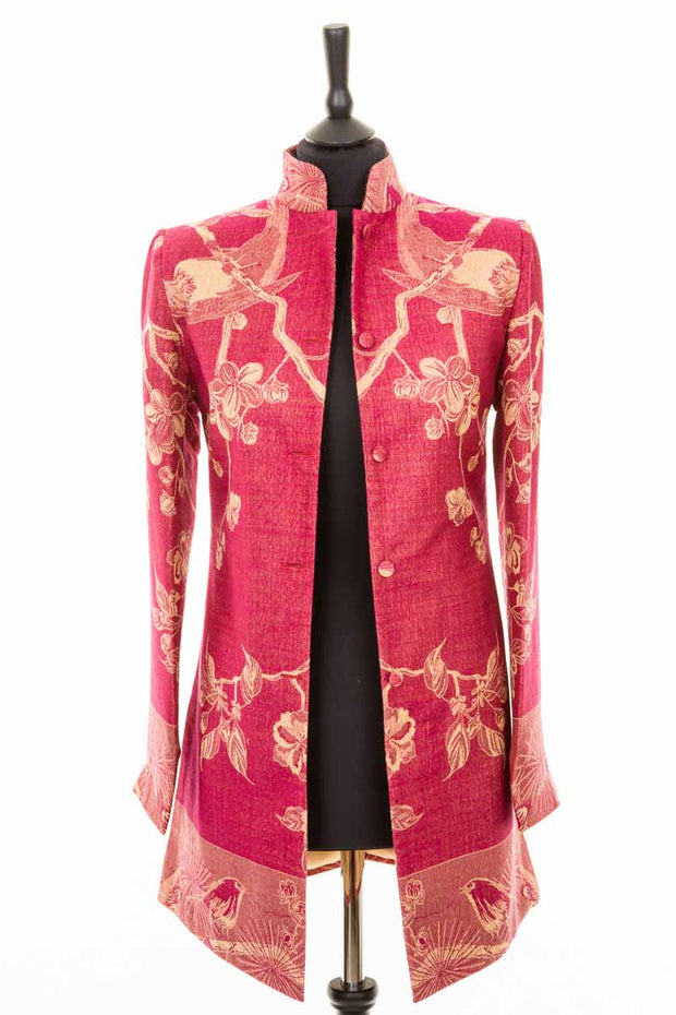 Long Nehru Jacket in Deep Raspberry