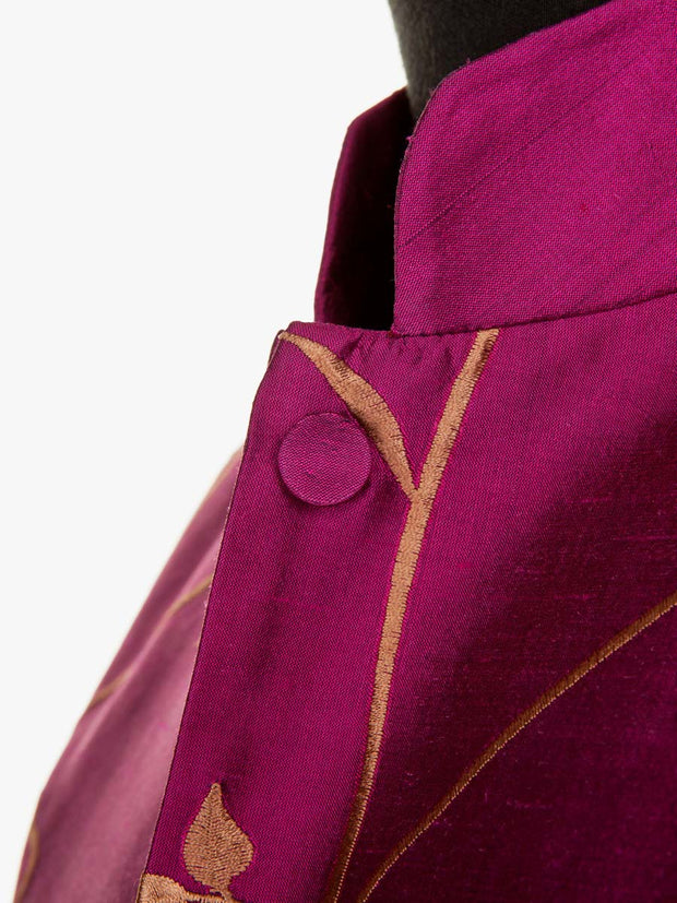 Long Nehru Jacket in Hot Magenta