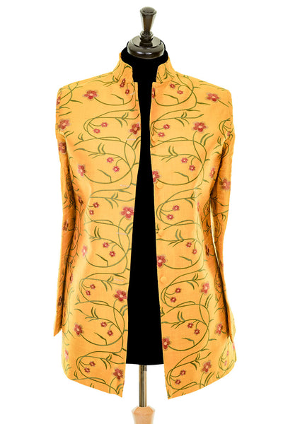 Long Nehru Jacket in Shocking Mustard