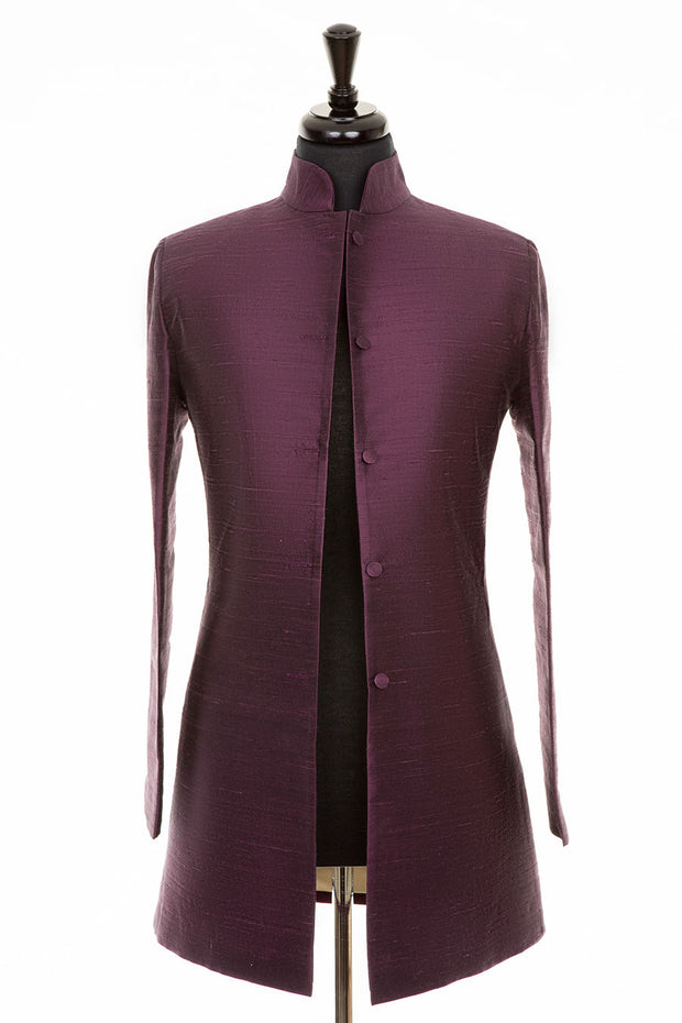 Long Nehru Jacket in Aubergine