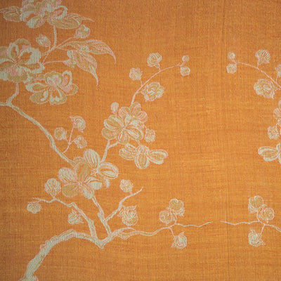 apricot orange cashmere tree of life fabric