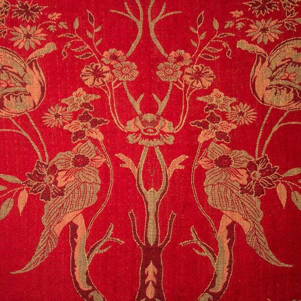 rich ruby red floral cashmere fabric