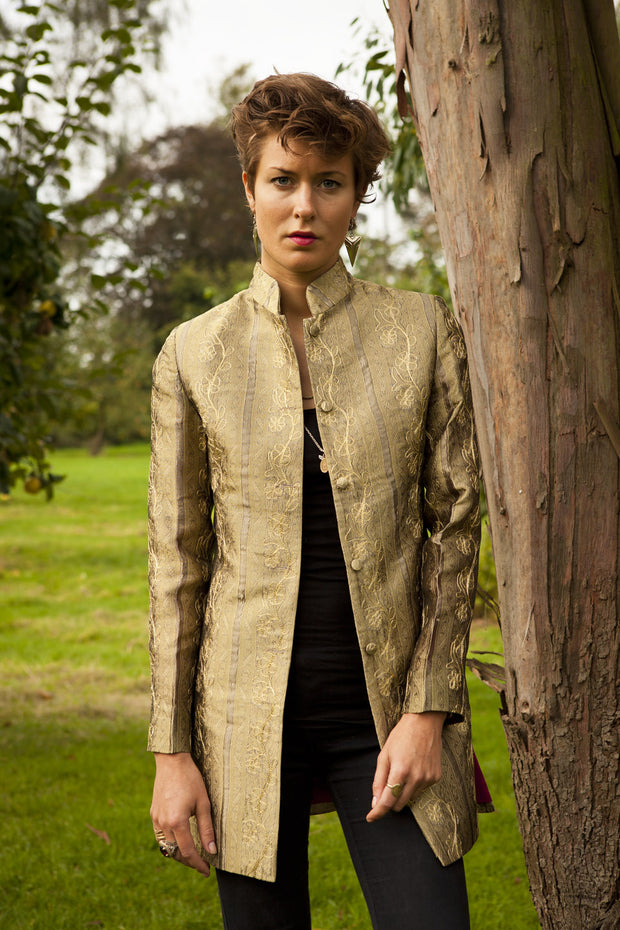 gold embroidered silk jacket, mother of the bride outfit, nehru collar jacket