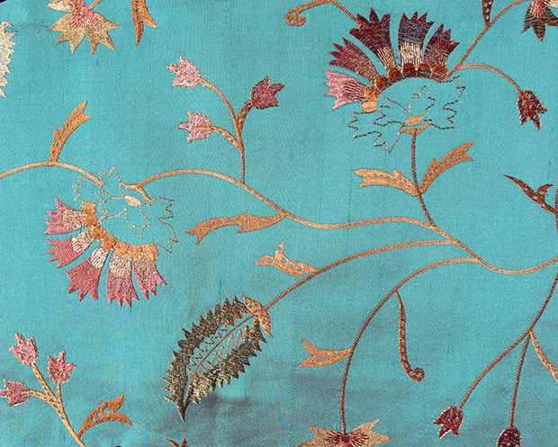 teal embroidered silk fabric