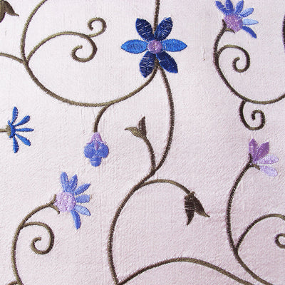 pale pink floral embroidered silk fabric