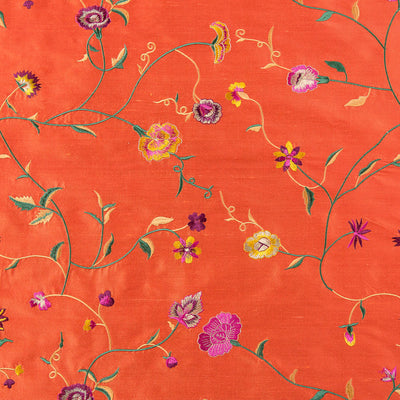 bright coral orange floral embroidered silk fabric