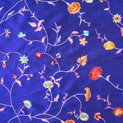 bright cobalt blue embroidered silk fabric
