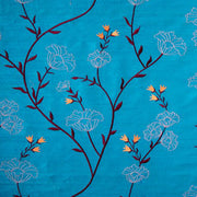 bright turquoise embroidered silk fabric