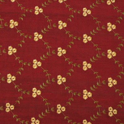 burgundy red embroidered silk fabric