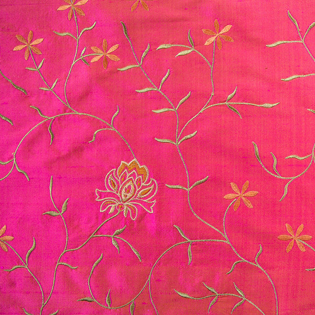 bright pink and orange shot silk embroidered silk fabric