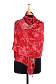 Shawl in Red/Frosted Pink