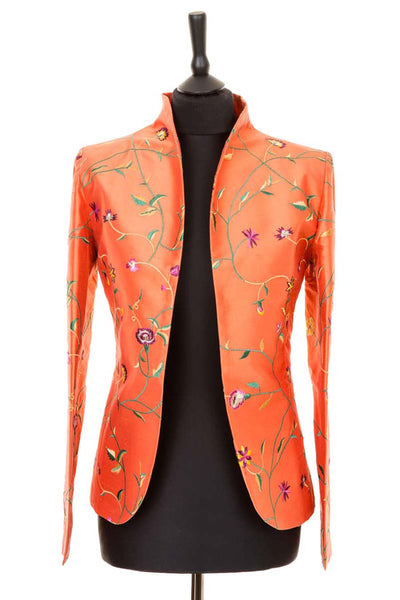 bright coral orange embroidered silk fitted jacket, mother of the bride outfit, summer wedding outfit, plus size opera jacket