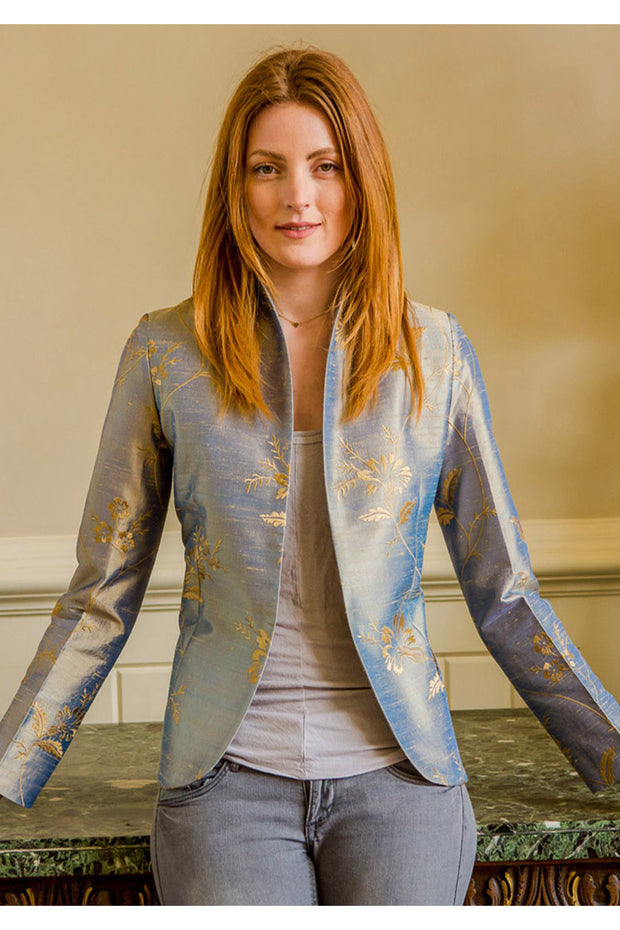 blue and gold embroidered silk wedding jacket, silk mother of the bride outfit, unique wedding outfit, silk opera jacket