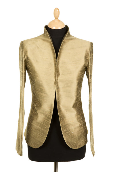 gold raw silk jacket for women, tailored silk blazer, gold mother of the bride outfit, gold silk opera outfit