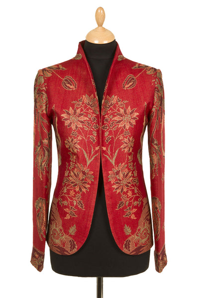 ruby red smart fitted jacket, outfit for vet inspection, floral blazer for women, hacking jacket,, outfit for the races, plus size opera jacket